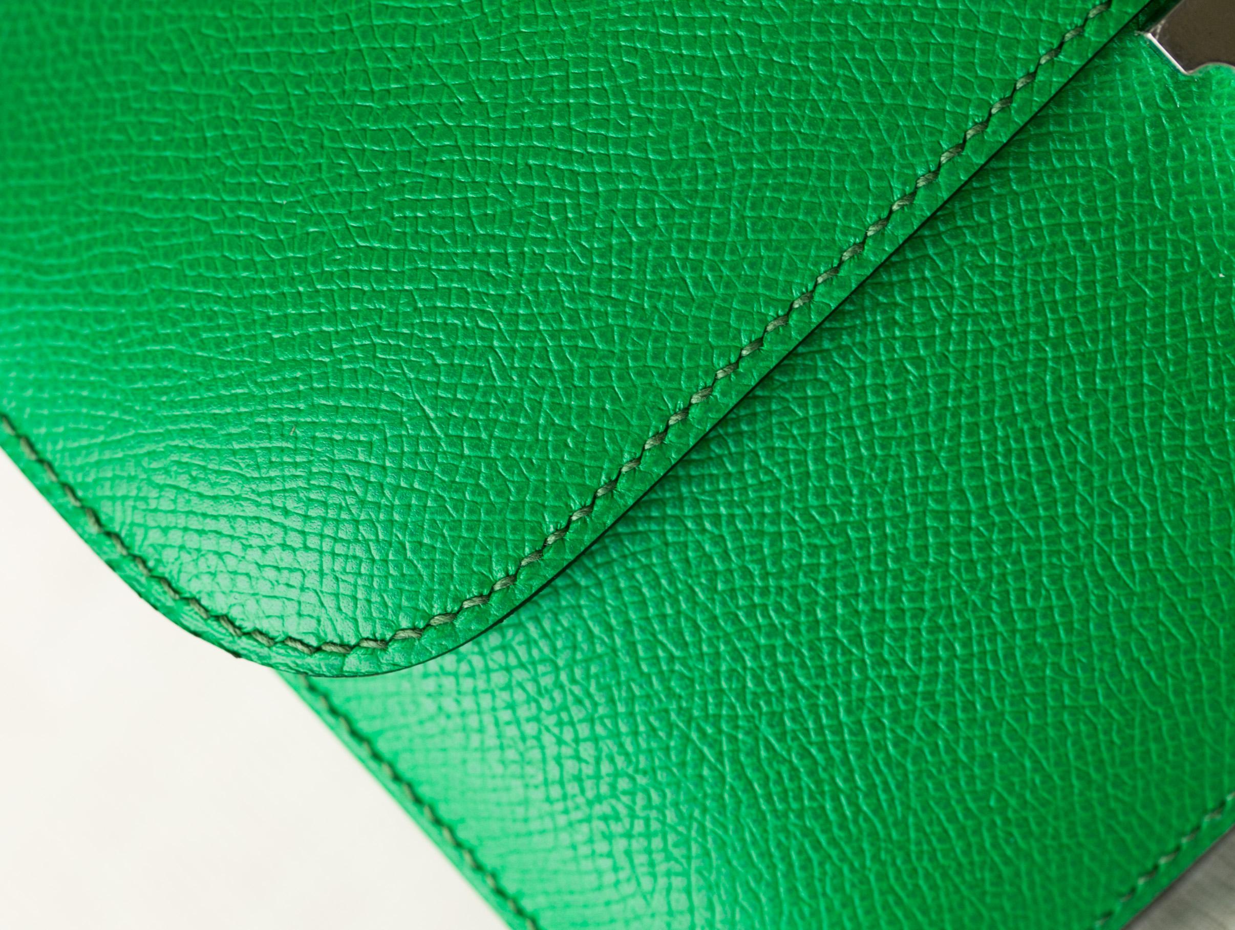 Hermes爱马仕 1K竹子绿进口顶级epsom牛皮Constance康斯坦包26cm