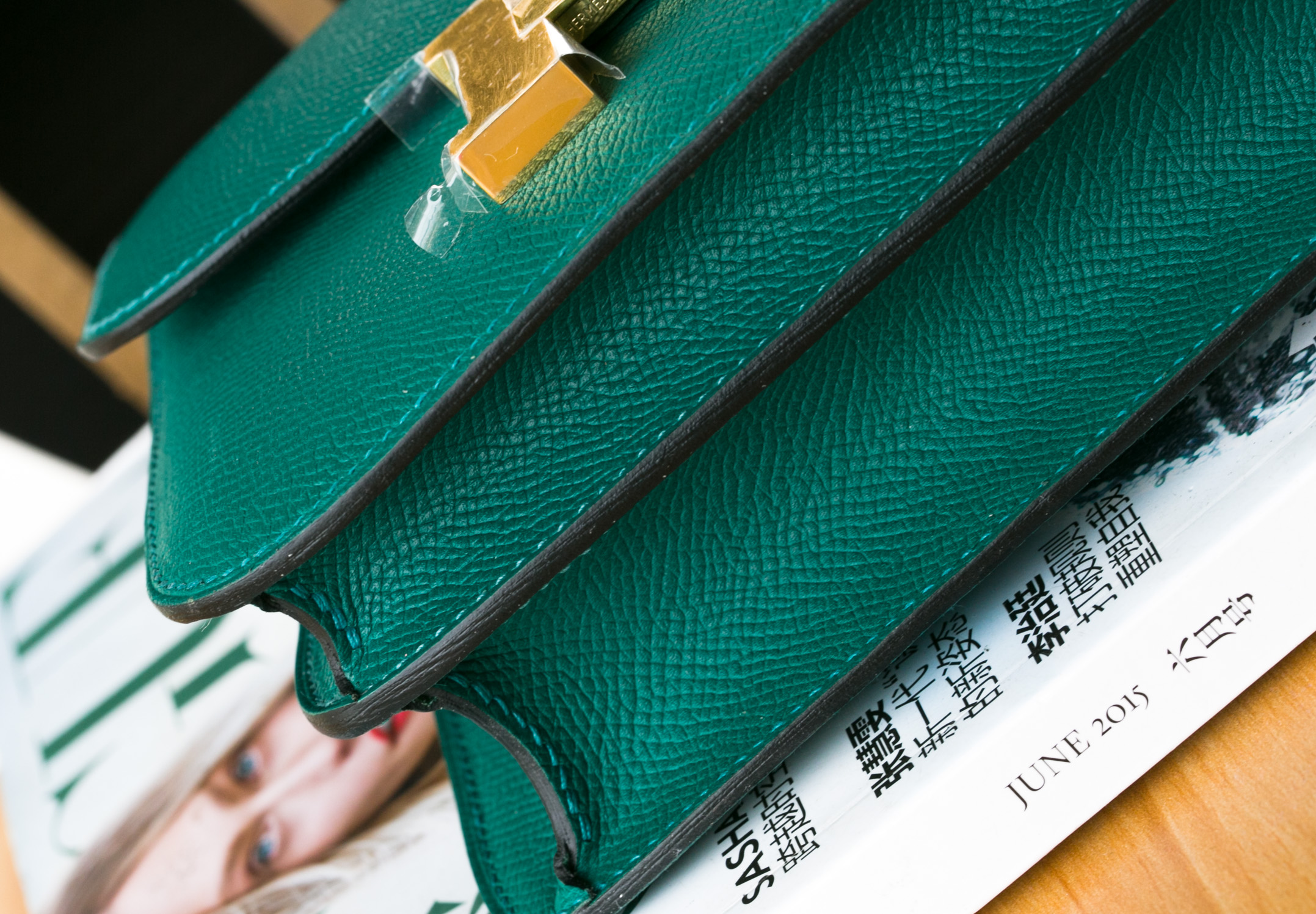 爱马仕康斯坦包价格 Hermes Constance 24cm Z6孔雀绿进口epsom牛皮
