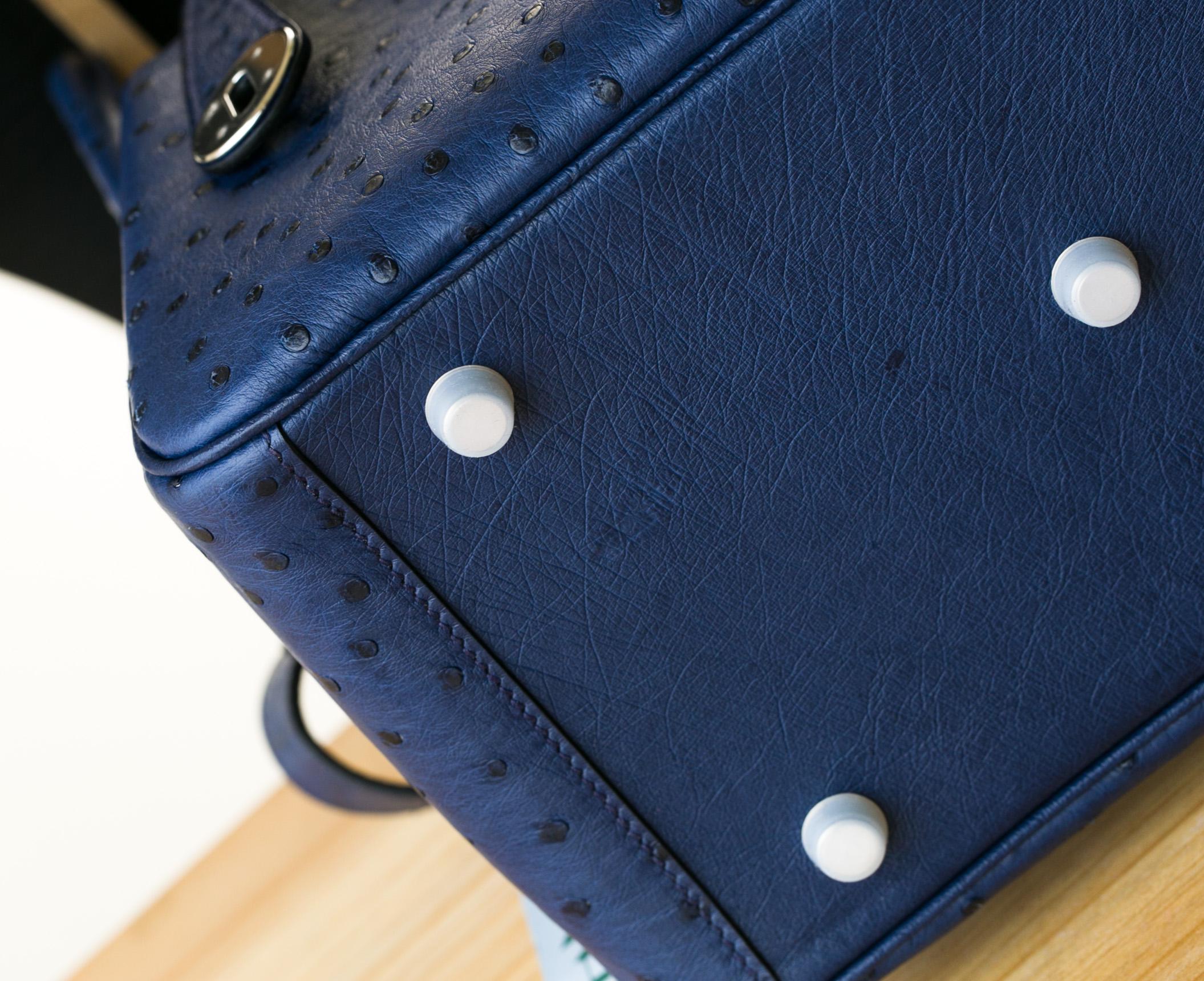 Hermes女包价格 爱马仕Lindy包26cm 7T电光蓝进口顶级鸵鸟皮 银扣