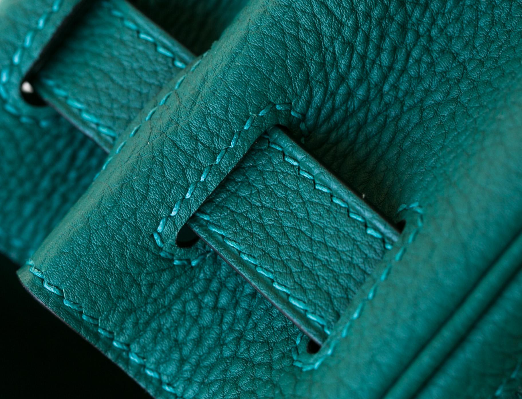 Hermes爱马仕凯莉包 Z6孔雀绿进口顶级togo皮Kelly女包28cm