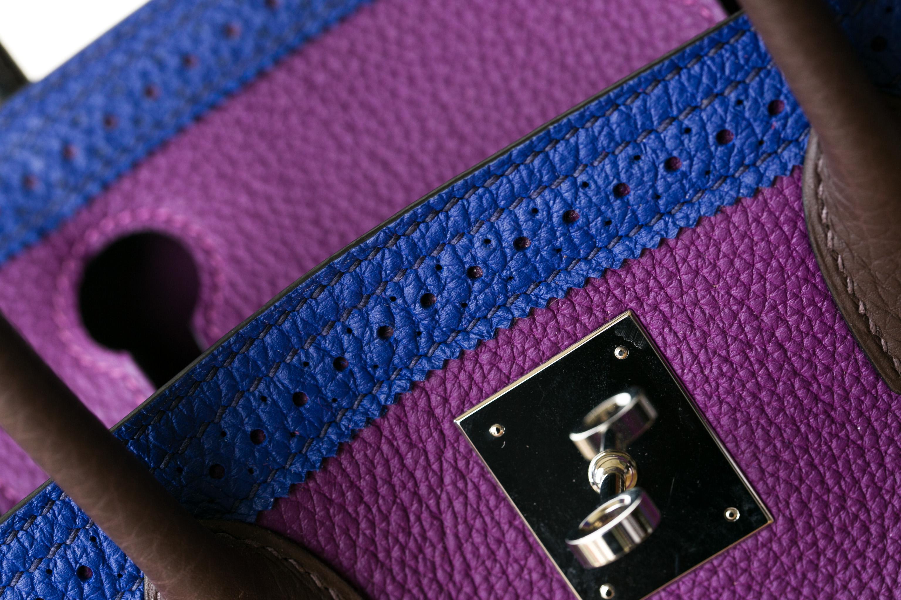 厂家直销 Hermes爱马仕拼色togo牛皮蕾丝款铂金包Birkin30cm