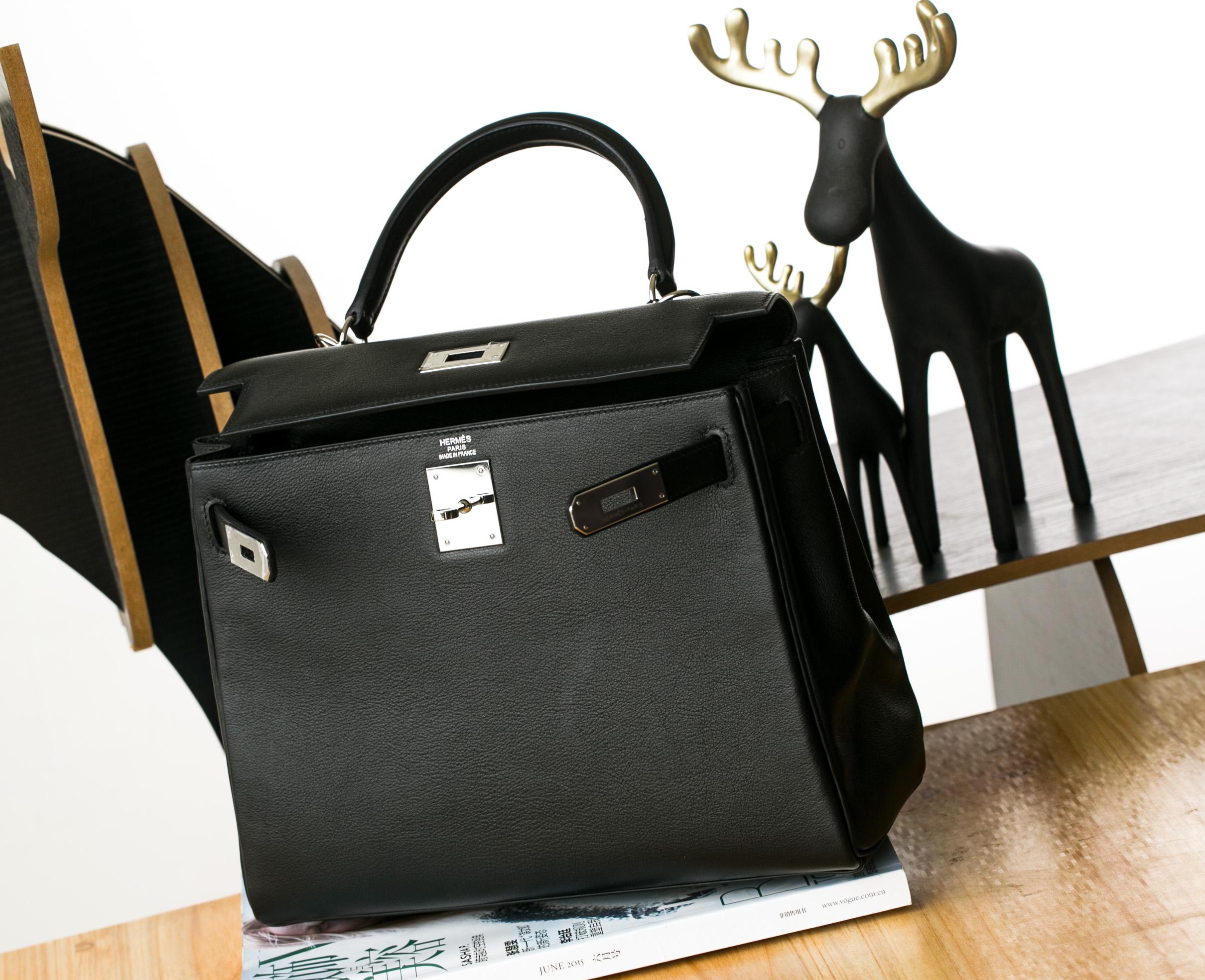 Hermes Kelly 28cm 爱马仕89黑色原厂swift牛皮凯莉包 银扣