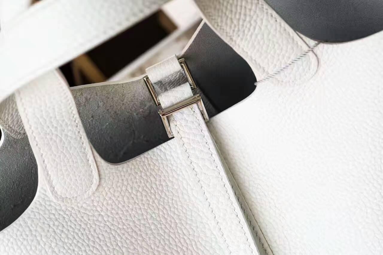 爱马仕菜篮子包 Hermes Picotin 18cm 白色原厂TC牛皮 银扣