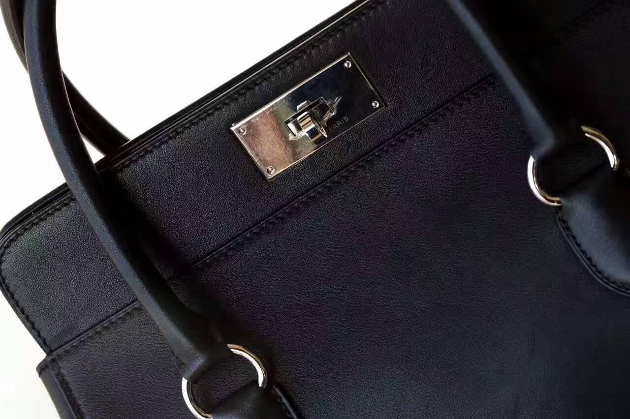 Hermes包包批发 爱马仕黑色原厂Swift牛皮牛奶包手提包26cm