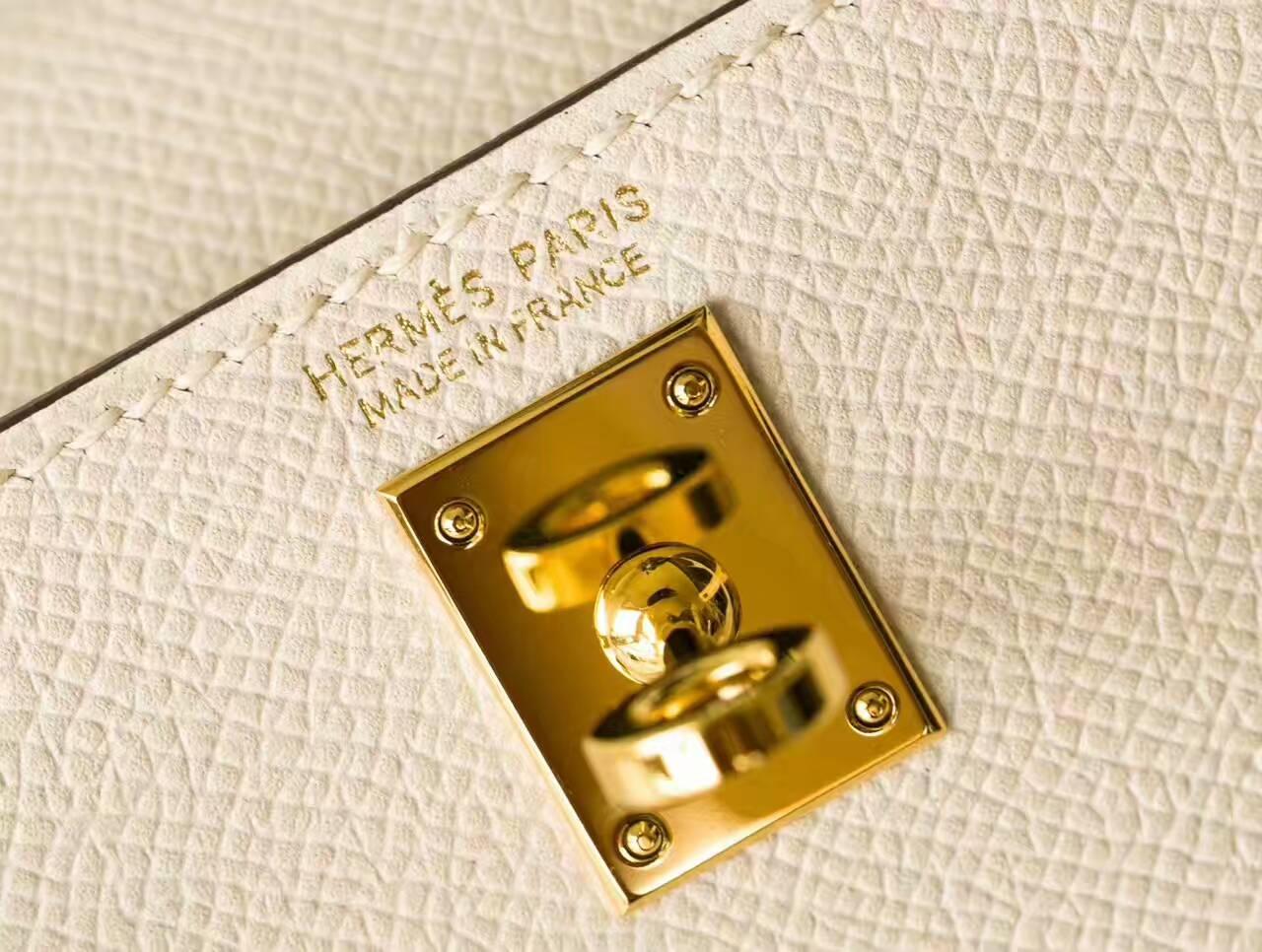 Hermes新款女包 爱马仕Minikelly 2代 19cm 奶昔白原厂epsom牛皮