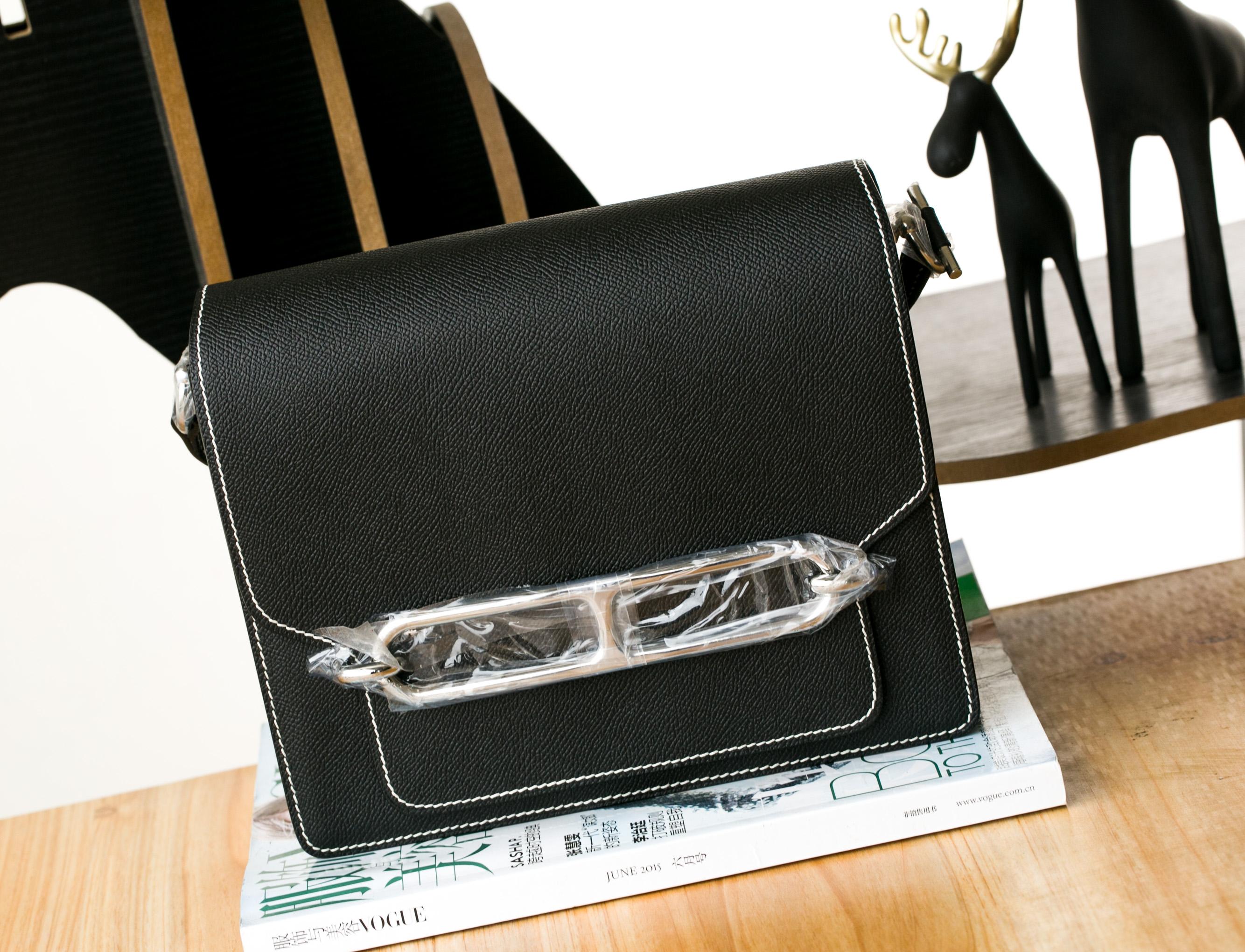 爱马仕新款女包 Hermes Roulis 23cm 黑色原厂epsom牛皮 银扣