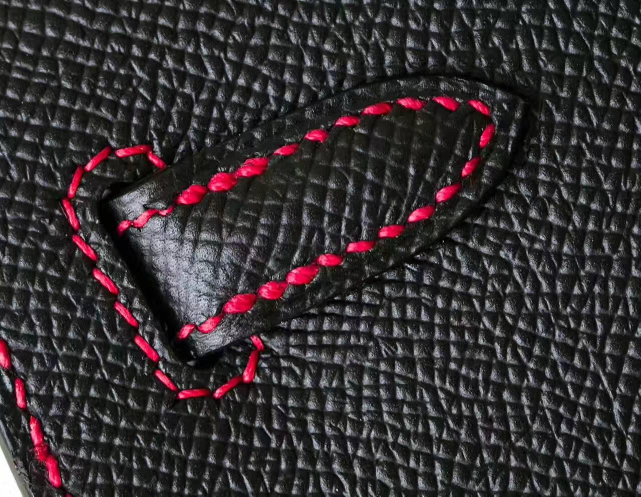 爱马仕凯莉包尺寸 黑色拼国旗红原厂epsom牛皮Kelly包包25cm