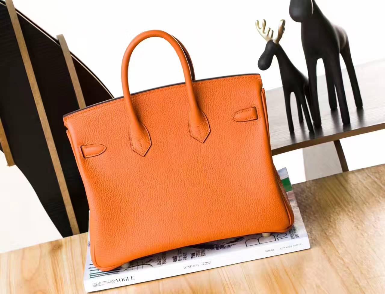 爱马仕包包官网 Hermes 93橙色原厂togo牛皮Birkin包包25cm