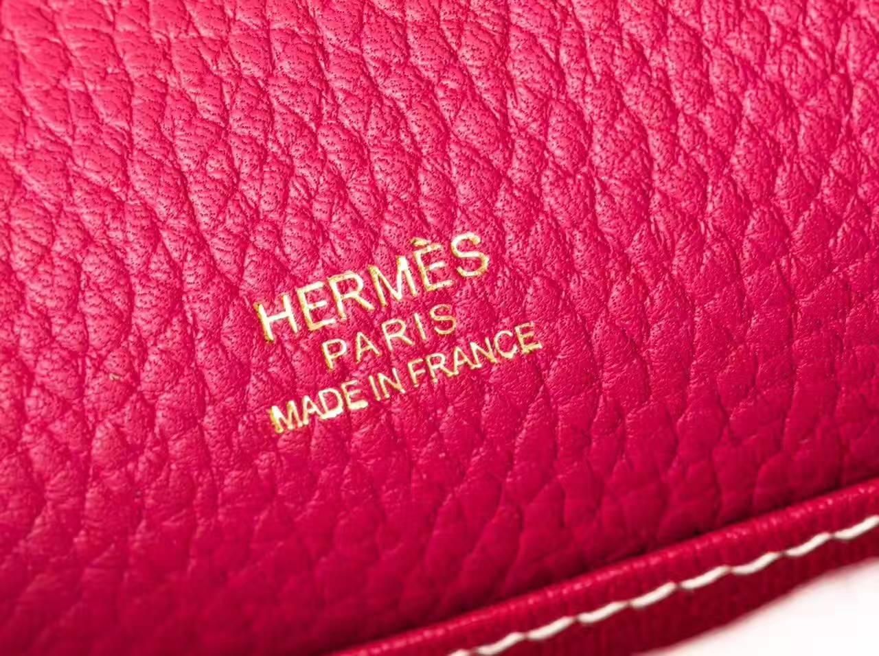爱马仕猪鼻子包 Hermes Roulis 23cm 梅红原厂TC牛皮 金扣