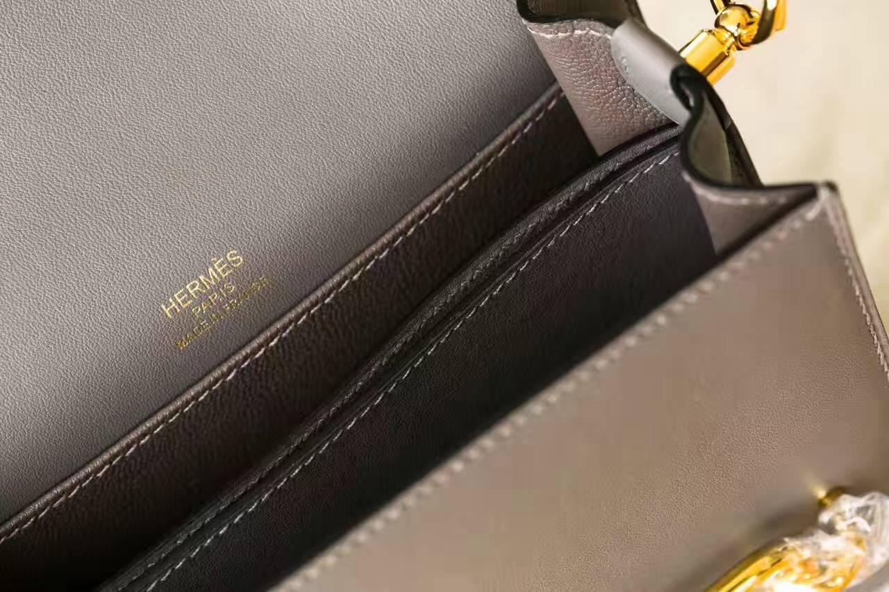 Hermes爱马仕猪鼻子包 锡器灰原厂Swift牛皮 Roulis 19cm