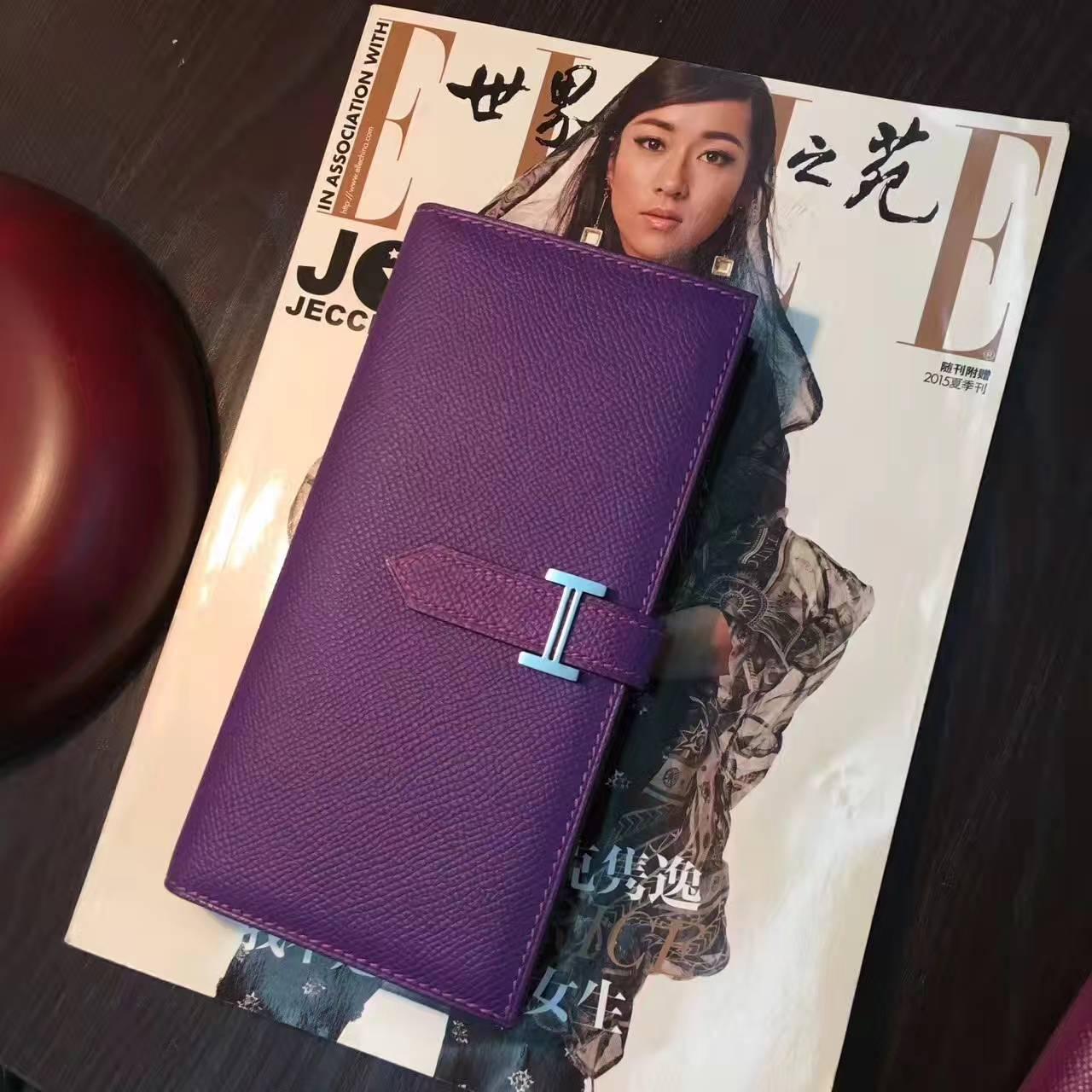 爱马仕经典钱包 Hermes 9W梦幻紫原厂epsom牛皮H扣钱夹