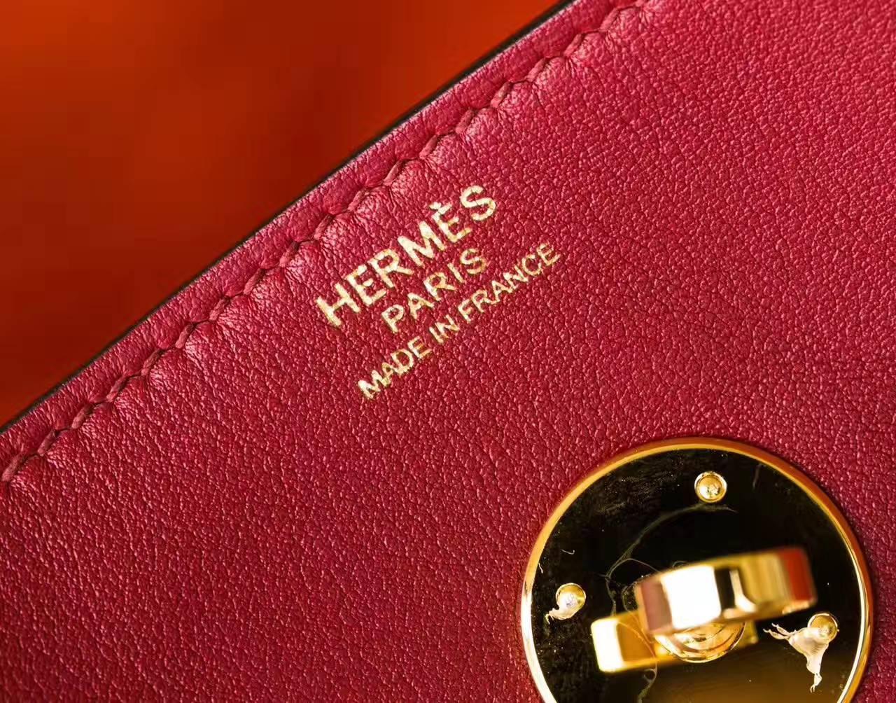 爱马仕Lindy包尺寸 Hermes石榴红拼橙色原厂swift牛皮琳迪包30cm