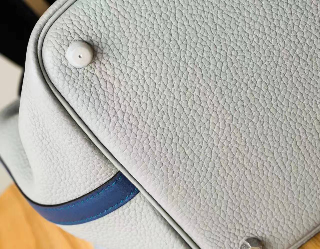 爱马仕水桶包 Hermes 冰川灰拼玛瑙蓝原厂TC牛皮Picotin 22cm