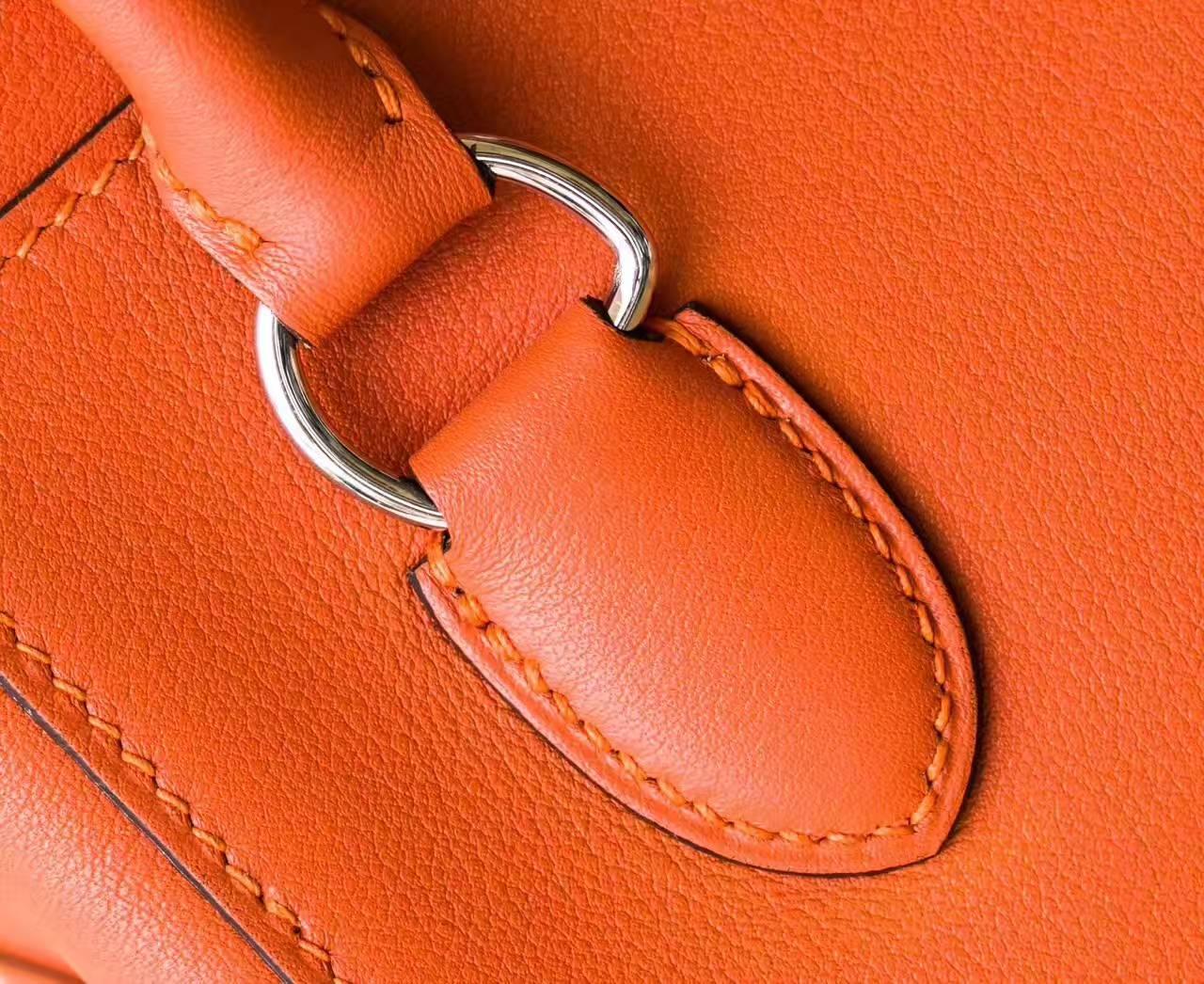 Hermes新款女包 爱马仕93橙色原厂swift牛皮Toolbox牛奶包20cm