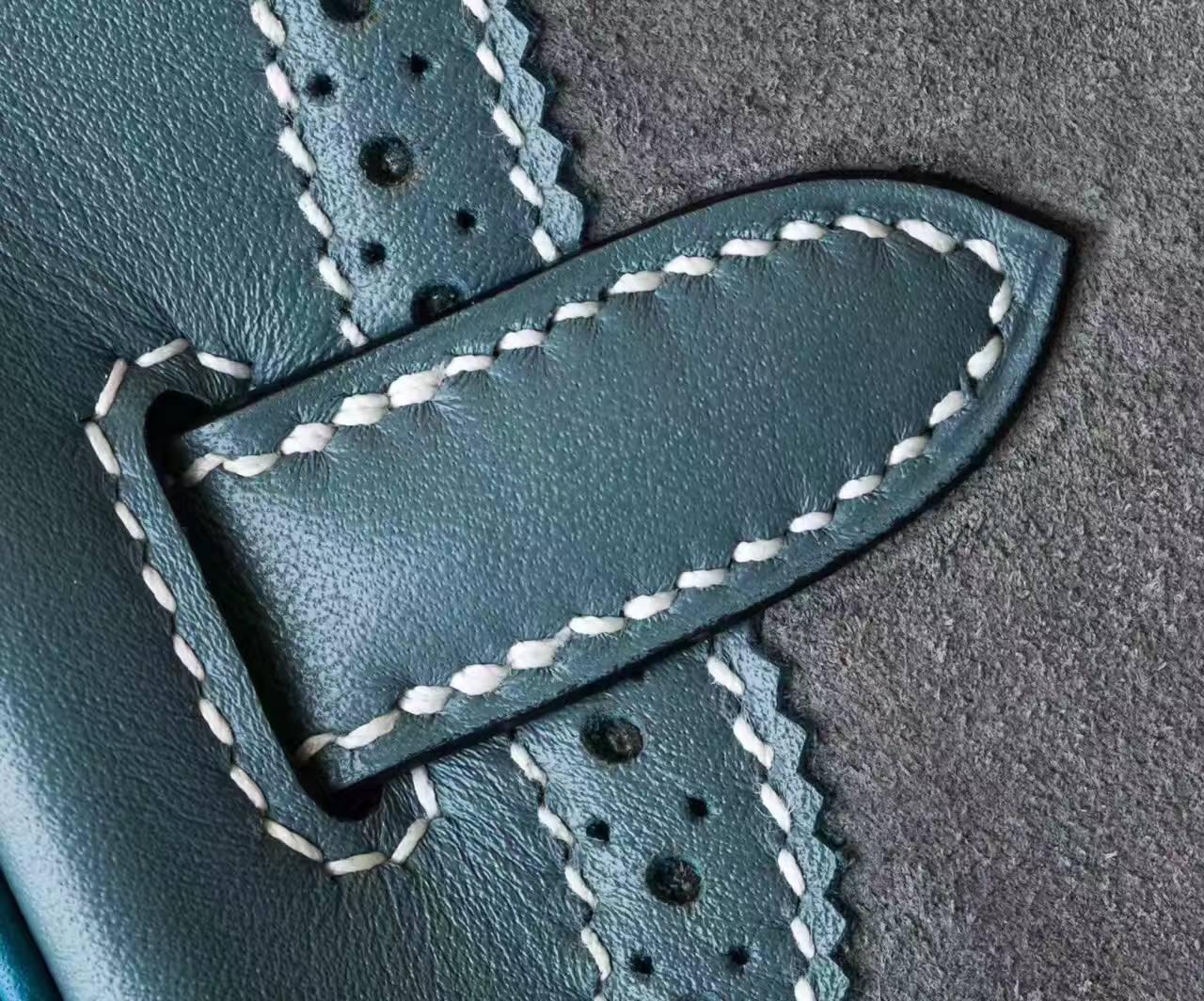 爱马仕铂金包蕾丝款 麂皮Swift拼togo皮Birkin30包包 银扣