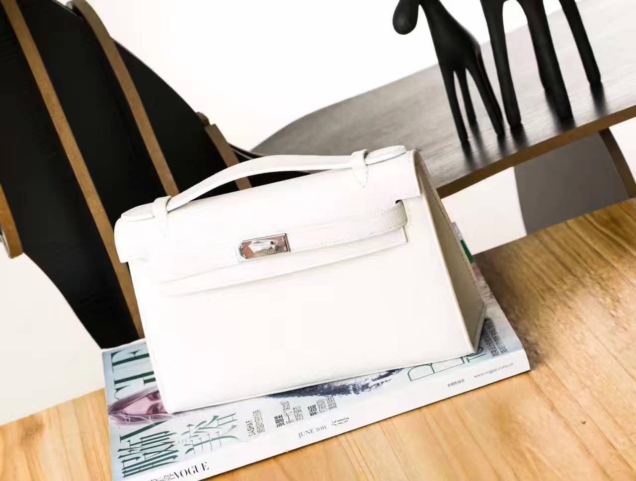 爱马仕Hermes Minikelly 22cm 白色原厂Epsom牛皮迷你凯莉包