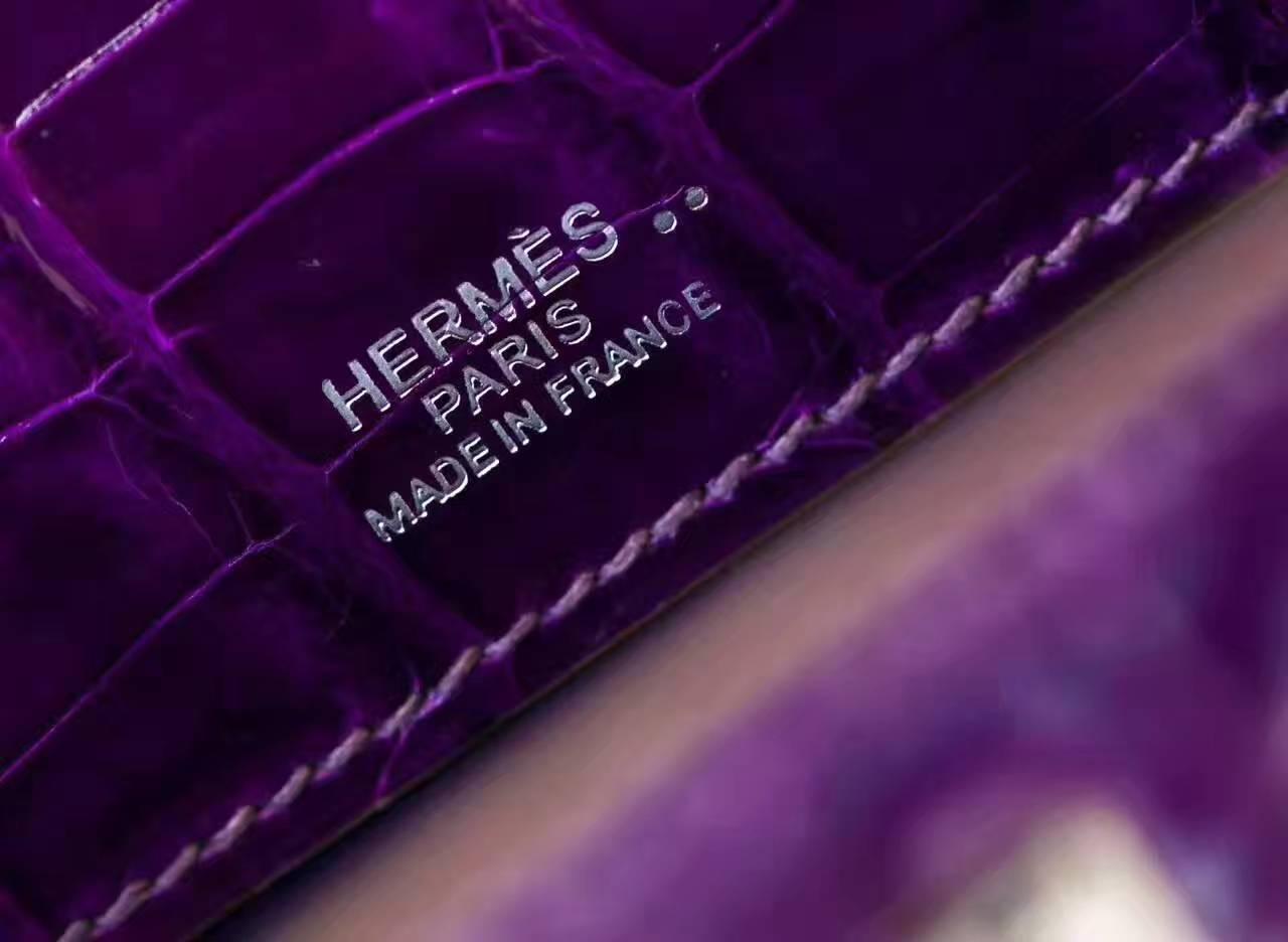 Hermes新款女包 爱马仕茄子紫亮面鳄鱼皮迷你凯莉包Minikelly22cm