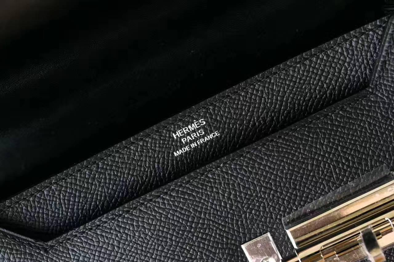 爱马仕新款包包 Hermes Verrou 黑色原厂epsom牛皮机关枪包17cm