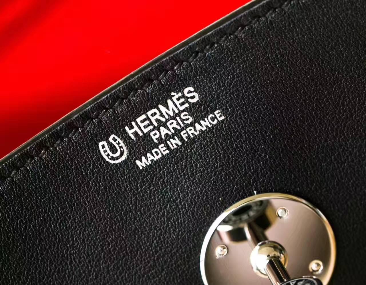 爱马仕Lindy包 Hermes黑色原厂swift牛皮琳迪包30cm 银扣