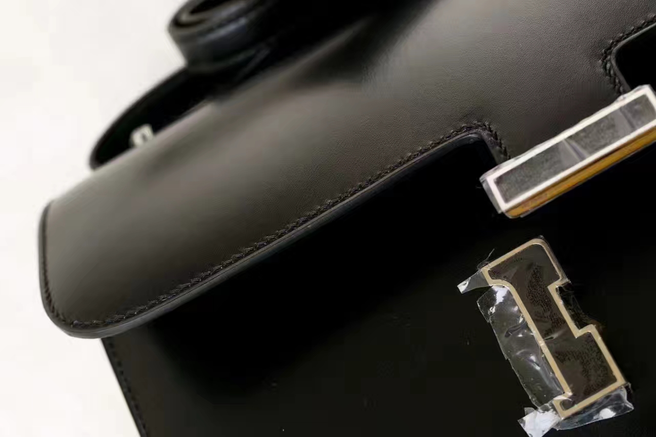 Hermes空姐包价格 爱马仕89黑色原厂Box牛皮康斯坦包26cm 金扣