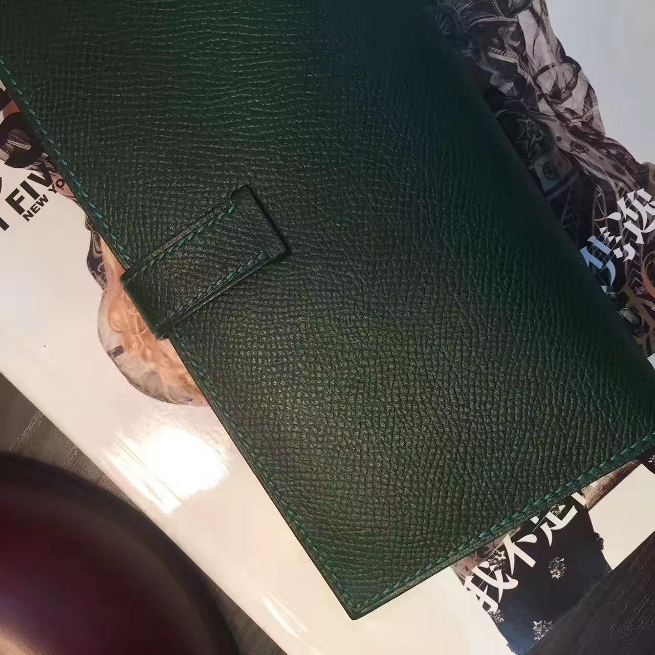 爱马仕钱包价格 Hermes 墨绿原厂epsom牛皮H扣长款钱夹