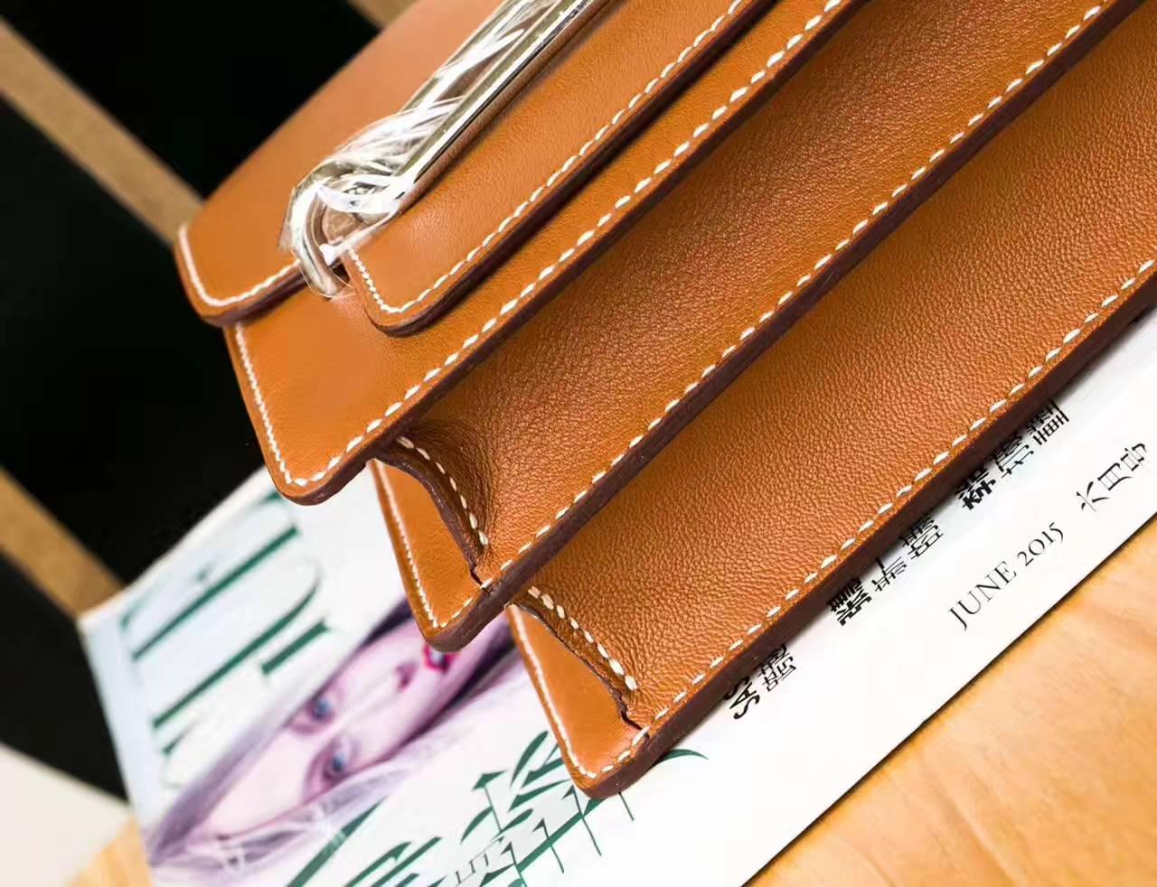 厂家直销 Hermes爱马仕CK37金色原厂Swift牛皮Roulis单肩斜挎女包19cm