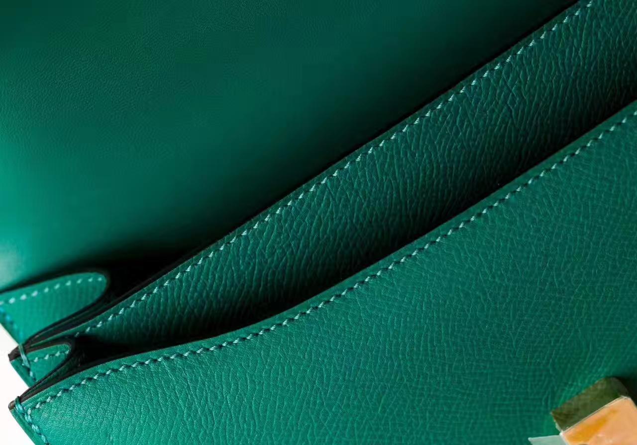 Hermes爱马仕空姐包 Z6孔雀绿原厂Epsom牛皮康斯坦包26cm