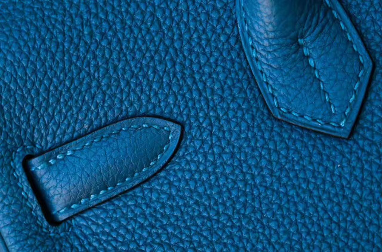 爱马仕铂金包尺寸 Hermes S7加利西亚蓝原厂Togo牛皮Birkin女包30cm