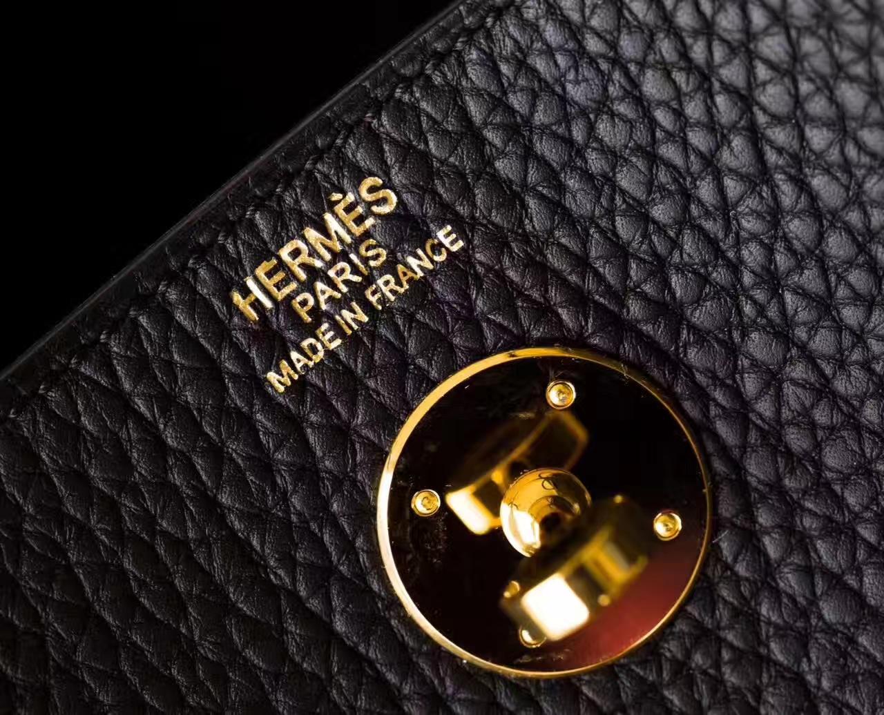 Hermes包包官网 爱马仕黑色原厂Togo牛皮琳迪包Lindy30cm