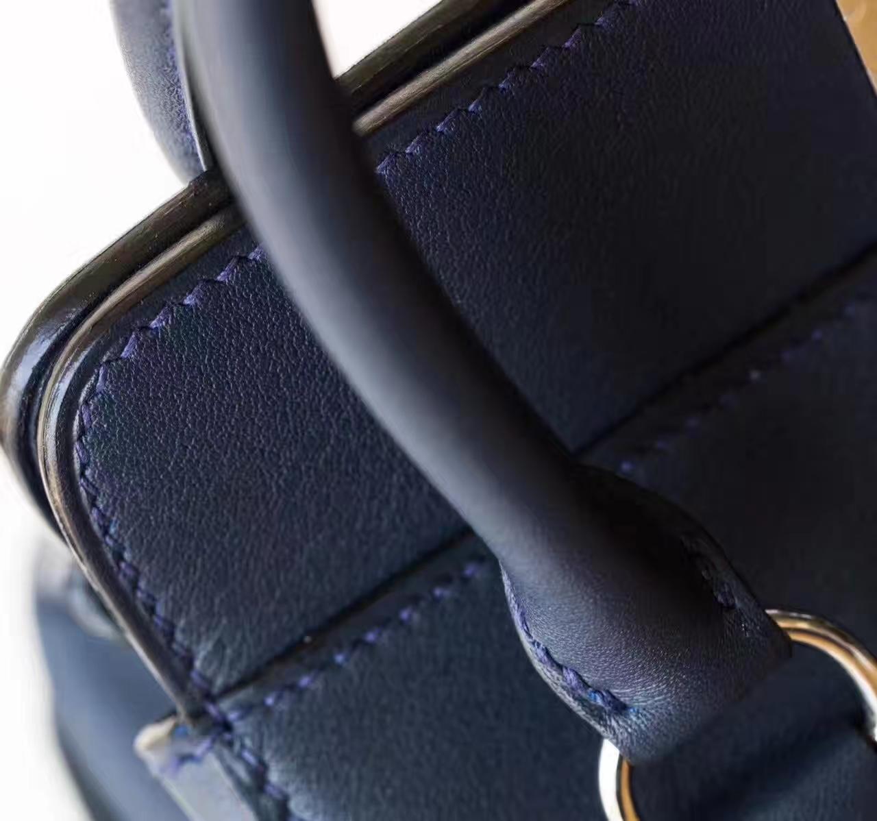 Hermes Toolbox 20cm 爱马仕CK73宝石蓝原厂swift牛皮牛奶包