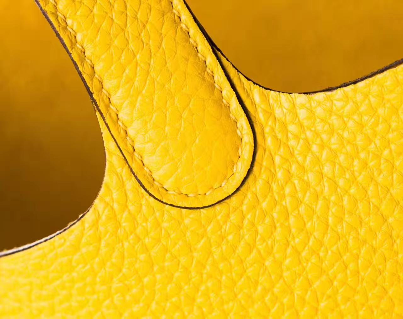 爱马仕水桶包尺寸 Hermes Picotin 22cm 9H柠檬黄原厂TC牛皮 银扣