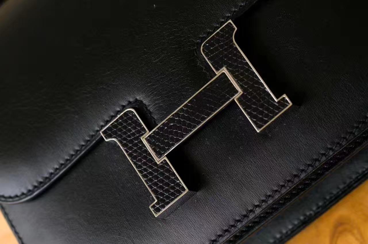 爱马仕康斯坦包 Hermes黑色原厂box牛皮空姐包19cm 蜥蜴扣