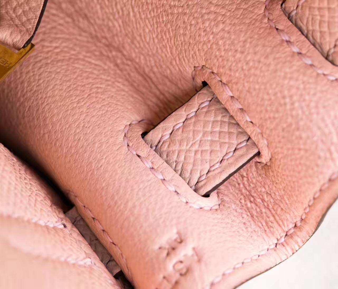 爱马仕凯莉包价格 Hermes Kelly 25cm 蔷薇粉原厂epsom牛皮 银扣