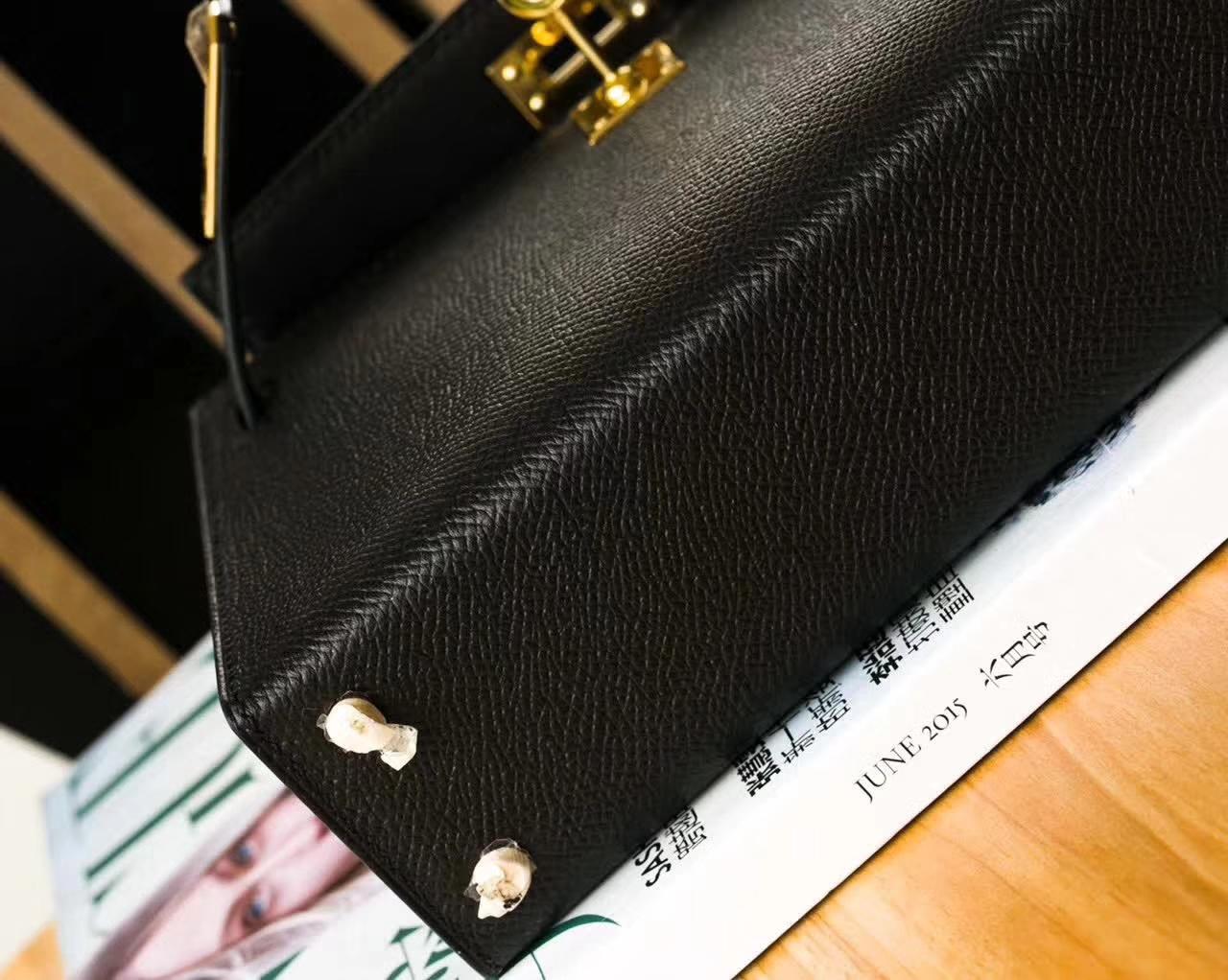 爱马仕迷你凯莉包 Hermes Minikelly2代 黑色原厂Epsom牛皮 金扣