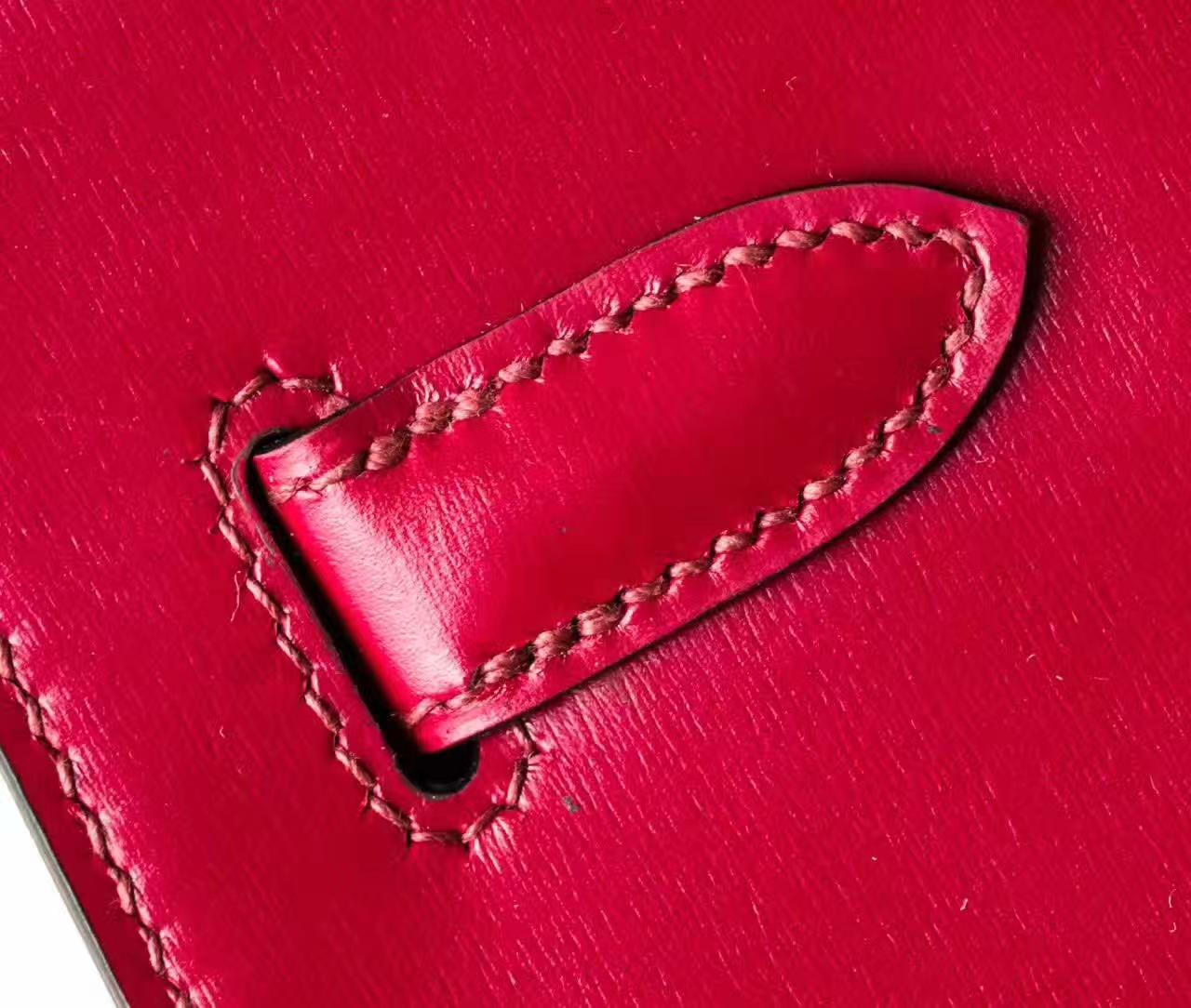 Hermes Kelly 28cm 爱马仕B5宝石红原厂box牛皮凯莉包 金扣