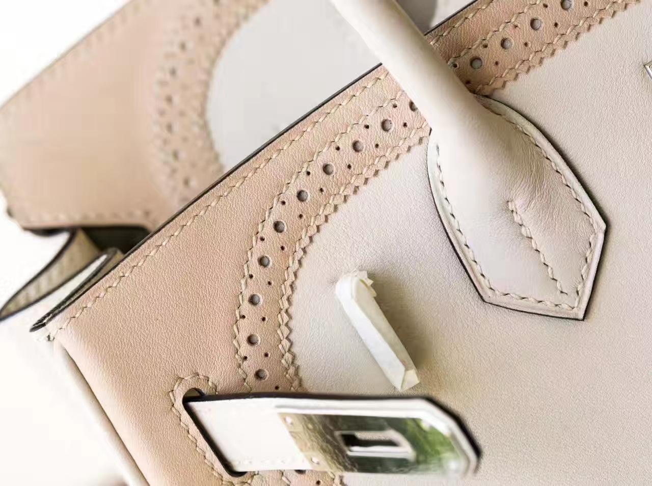 Hermes爱马仕珍珠灰拼斑鸠灰原厂Swift牛皮蕾丝铂金包Birkin30cm