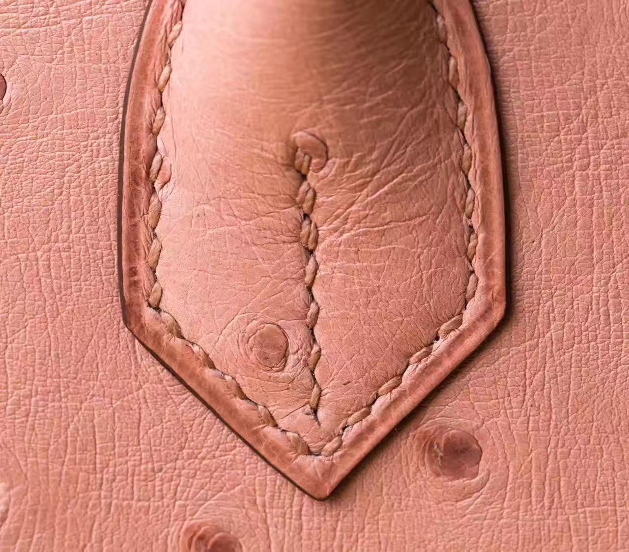 Hermes包包官网 爱马仕陶瓷粉顶级鸵鸟皮Birkin30铂金包 银扣