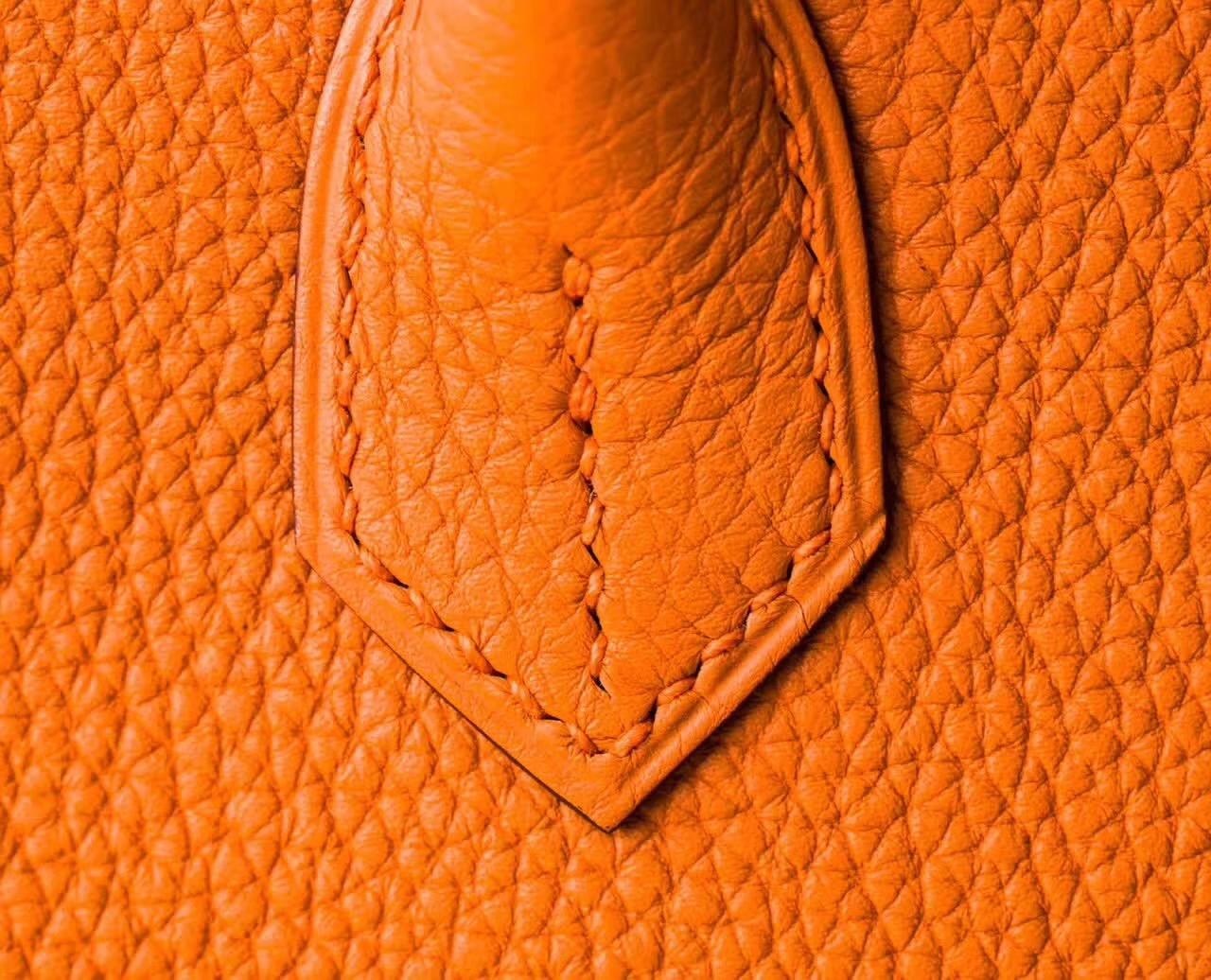 Hermes包包官网 爱马仕Birkin30铂金包 橙色原厂togo牛皮 金扣