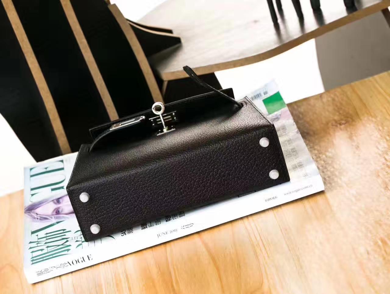 Hermes Minikelly 2代 爱马仕89黑色原厂山羊皮迷你凯莉包18cm