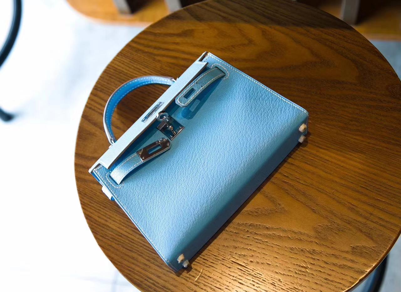 爱马仕迷你凯莉包价格 Hermes Minikelly2代 7N糖果蓝原厂山羊皮