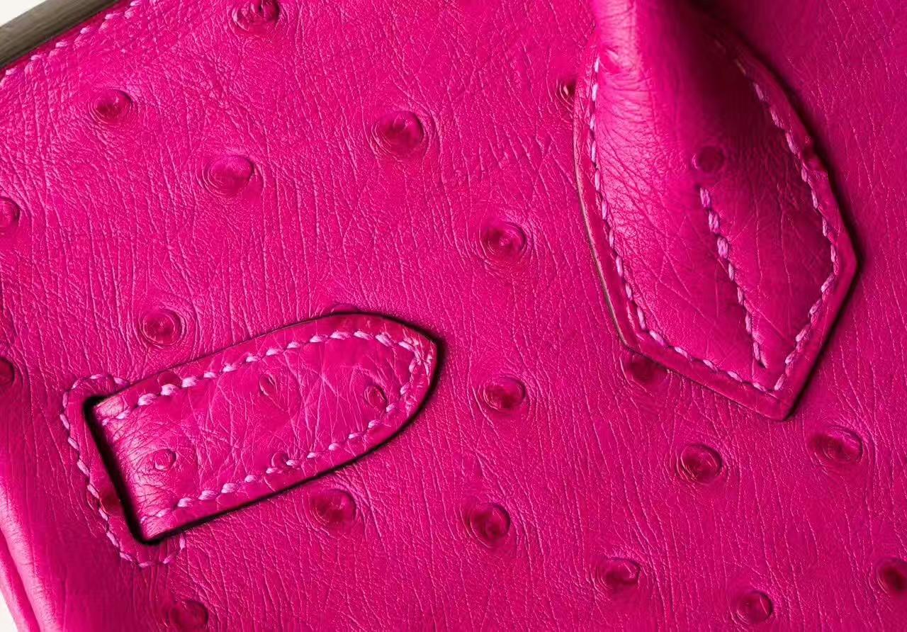 爱马仕鸵鸟皮铂金包 Hermes Birkin 30cm 桃红色 金扣