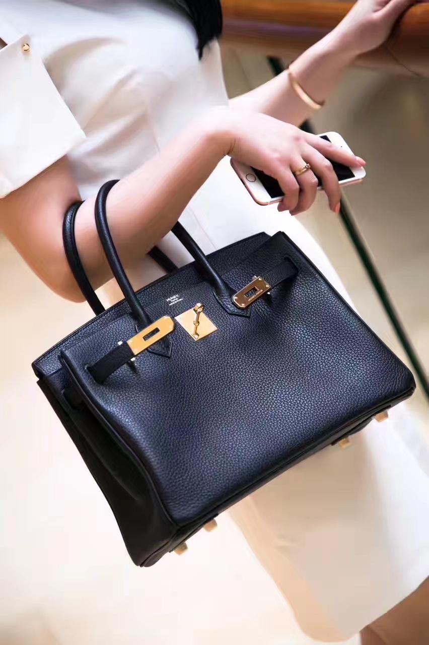 Hermes女包价格 爱马仕CK89黑色原厂togo牛皮铂金包Birkin30cm