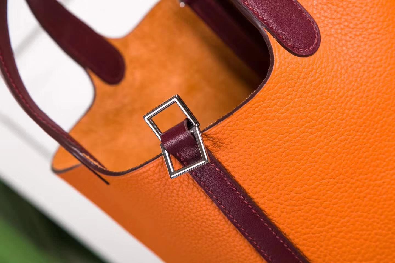 爱马仕水桶包 Hermes Picotin22cm 93橙色拼爱马仕红TC牛皮拼Swift牛皮