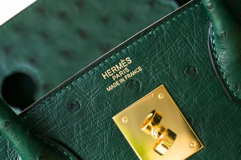 纯手工制作 Hermes爱马仕铂金包墨绿色顶级鸵鸟皮Birkin30cm 金扣