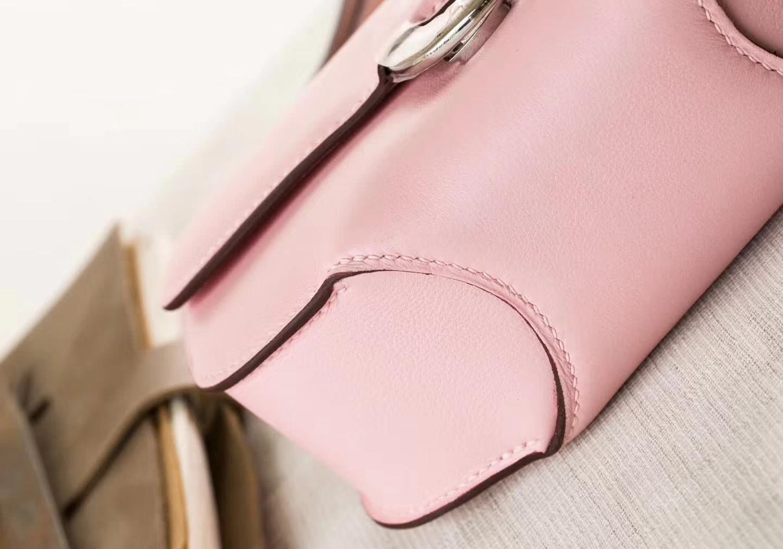 厂家直销 Hermes爱马仕猪鼻包 3Q水粉色Swift牛皮Midi18cm 银扣