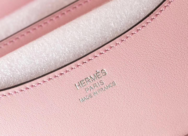Hermes爱马仕3Q水粉色顶级Swift牛皮Constance19空姐包 蜥蜴扣