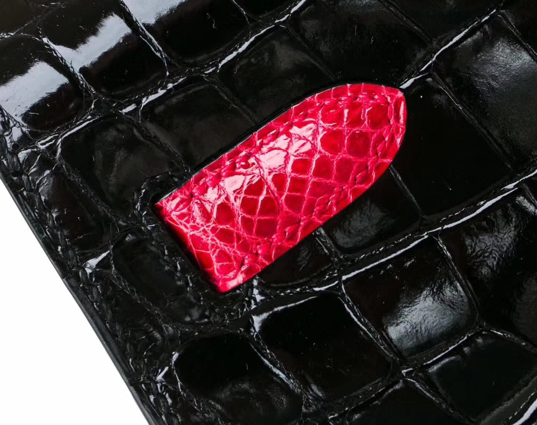 爱马仕新款凯莉包 Hermes Kelly32cm 黑色拼红色亮面鳄鱼皮 银扣