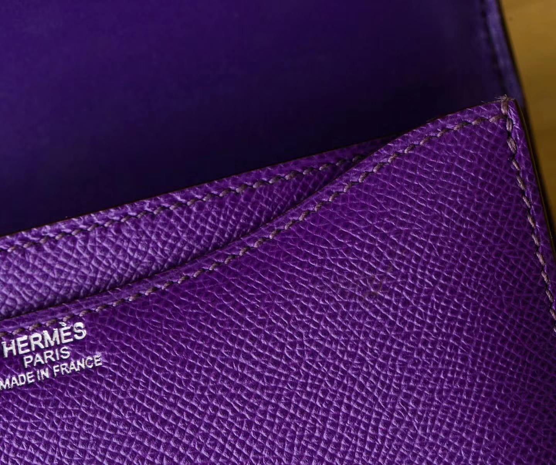 Hermes Constance18cm 爱马仕9W梦幻紫原厂Epsom牛皮空姐包 银扣