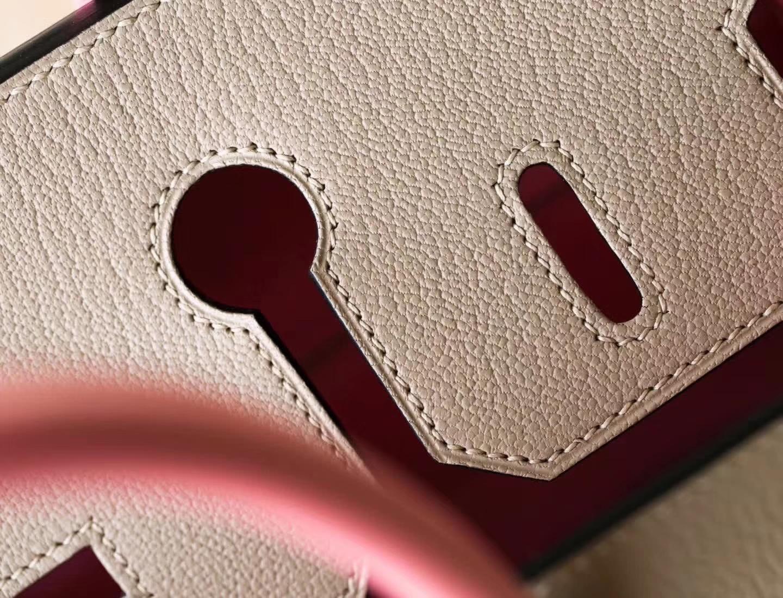 爱马仕Birkin包尺寸 Hermes CK81斑鸠灰拼奶昔粉顶级山羊皮铂金包30cm
