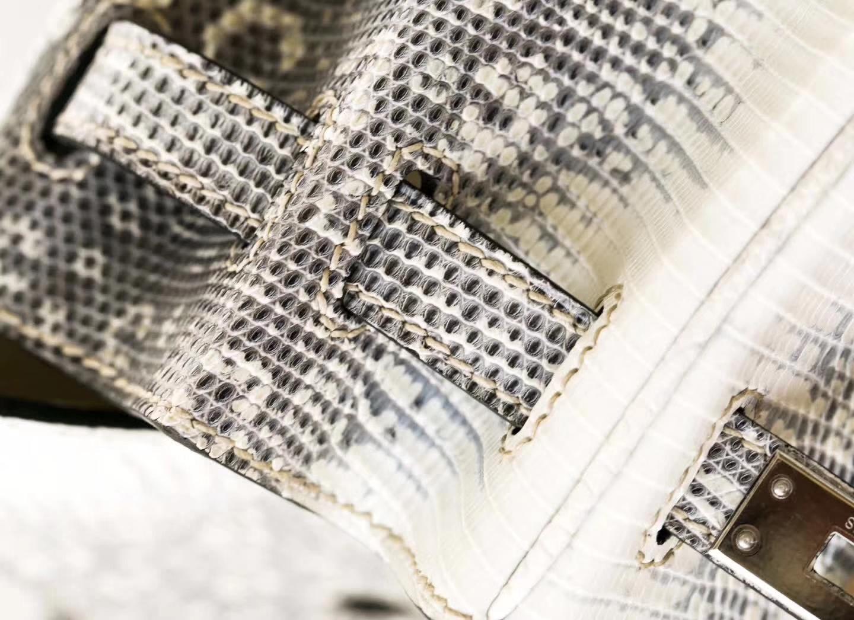 Hermes包包官网 爱马仕雪花蜥蜴皮铂金包自然色Birkin25CM 银扣